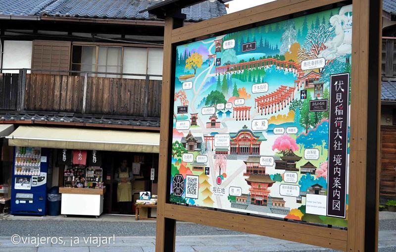Templos. Mapa Fushimi Inari